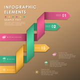 abstract origami ribbon infographics