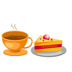 set coffee cup with cake