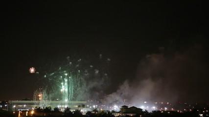 Backwards fireworks explosion