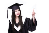 graduating student finger pointing to copy space