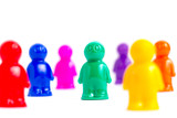 Crowd of the colorful toy people