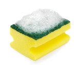 Sponge with foam on white