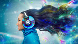 Colorful women in headphones listening to the music