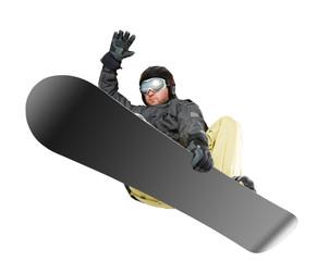 Mountain-skier jump isolated on white