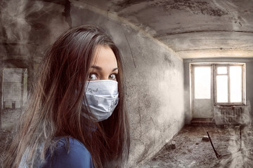 Women in gauze bandage in grungy room