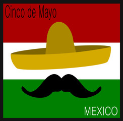 cinco de mayo design with sombrero and mustache