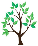 vector tree with green leaves