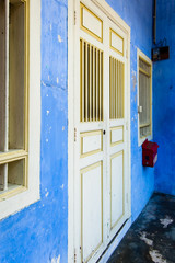 Blue painted shophouse, George Town, Penang