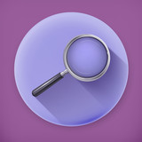 Magnifying glass, long shadow vector icon