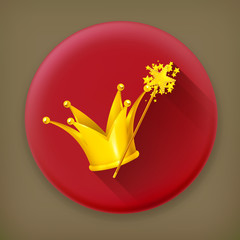 Magic wand and crown, long shadow vector icon