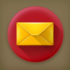 Mail, long shadow vector icon