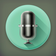 Microphone, long shadow vector icon