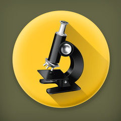 Microscope long shadow vector icon