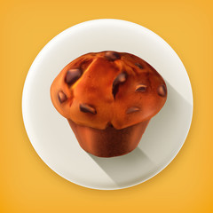 Muffin, long shadow vector icon