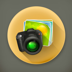 Photo long shadow vector icon