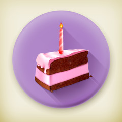 Piece of cake long shadow vector icon