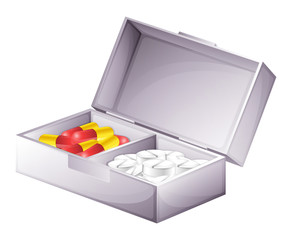 A medicine kit with capsules and tablets