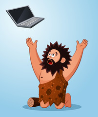 caveman worshiping a laptop