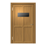 Realistic Wood Door with Blanc Black Plate . Vector