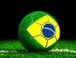Soccer Ball with Brazilian Flag on Grass