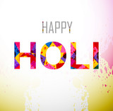 Beautifuli Holi text colorful festival background vector