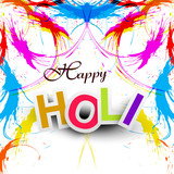 Beautiful Indian festival grunge colorful Happy Holi colors spla