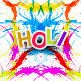 Beautiful grunge colorful Indian festival Happy Holi colors spla