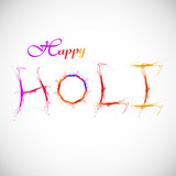 Holi splash color text with grunge colorful Illustratrion vector