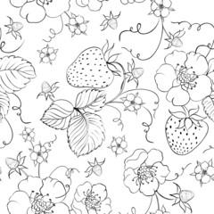 Seamless pattern of bright strawberry