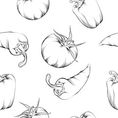 Vegetable pattern isolated.