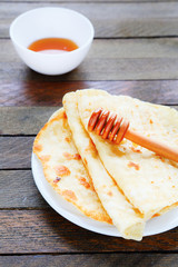 homemade pita with honey