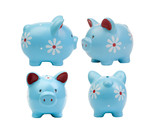 Four piggy banks  each in different position