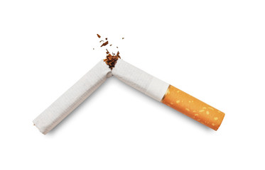 Quit smoking. Broken cigarette isolated on white background