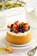 Chiffon cake with summer berries and cream.