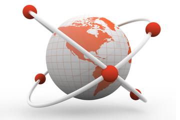 atom symbol with a globe.