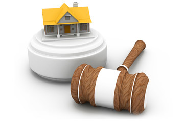 Real estate auction, house and gavel .