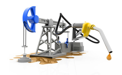 oil pump-jack with nozzle.