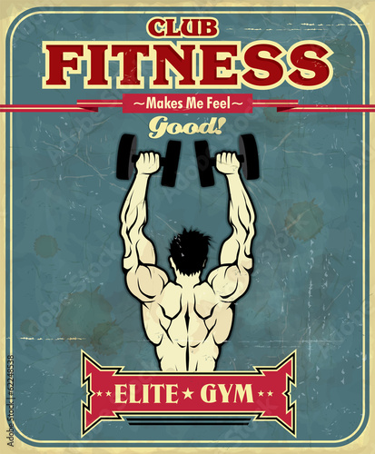 Fitness Posters With Quotes Vintage Fitness Club Poster