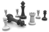 3d Black and White Chess Pieces.
