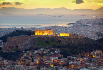 Athens, Greece. After sunset.  Parthenon and Herodium constructi