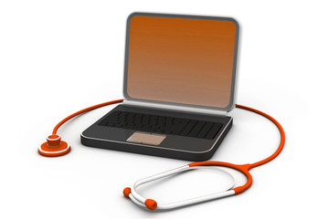 Medical stethoscope on a laptop computer.