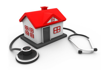 House with stethoscope.