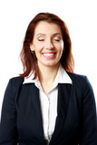 Portrait of a smiling businesswoman with closed eyes
