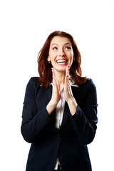 Happy businesswoman applauding