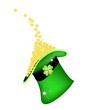 Golden Four Leaf Clovers in Green Hat