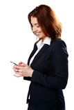 Smiling businesswoman holding smartphone