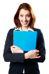 businesswoman holding notebook and pen
