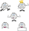 Soccer Balls Cartoon Mascot Characters 4. Set Collection