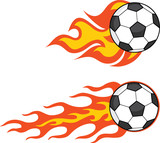 Flaming Soccer Balls. Set Collection