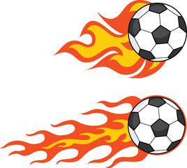 Flaming Soccer Balls. Set Collection